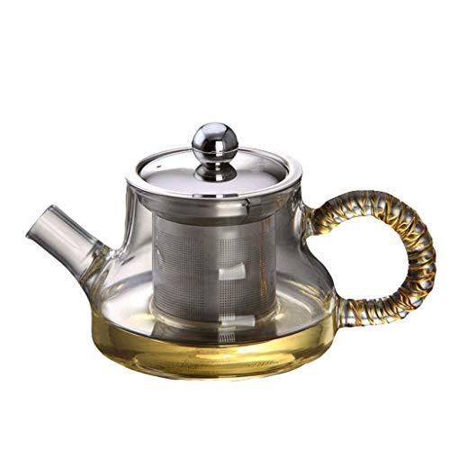 Teteras Juego de té de vidrio Taza elegante Engrosamiento de alta temperatura Filtro de acero inoxidable Fuga Oficina Ceremonia del té Olla Hervidor doméstico 300ml Resistente al calor (Color: Az