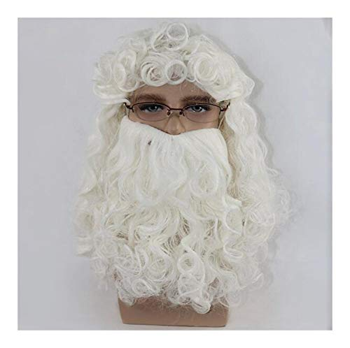 Men's Christmas White Pruik en Baard set, Santa Wig Christmas Party Day Pruik, Pruik lengte 45cm, Beard lengte 25cm, No Hat Sjaal