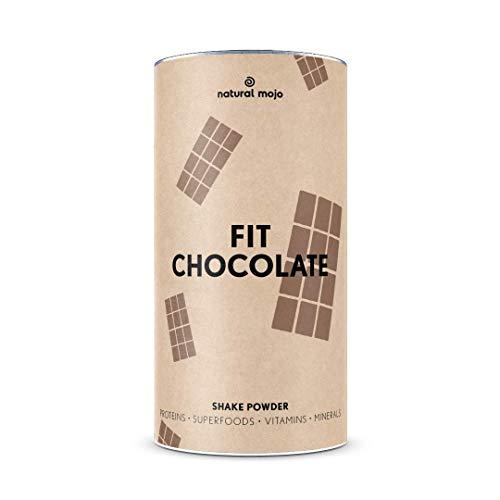 Natural Mojo Fit Chocolate – Fit Shake (500 g) – Shake mit wertvollen Superfoods – leckerer Drink aus leicht löslichem Eiweißpulver – mit Schokoladengeschmack