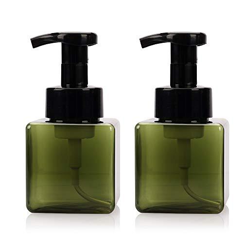 Viewnub Seifenspender für schäumende Hände, 250 ml, mit Kunststoffdeckel, quadratisch, transparent, 2 Stück Dark Green 250ml