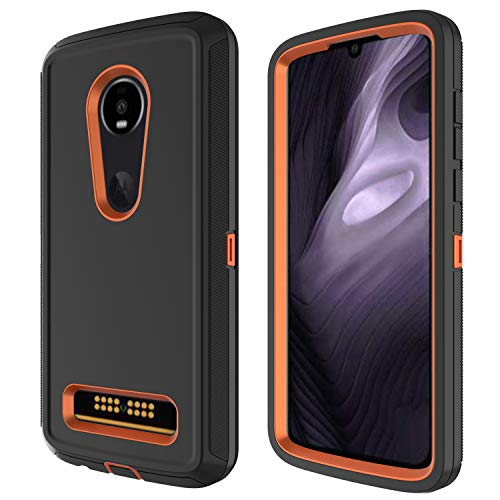 Annymall Moto Z4 Case, Heavy Duty with [Built-in Screen Protector] Tough 4 in1 Rugged Shorkproof Cover for Motorola Moto Z4/ Z4 Play (Black/Orange)