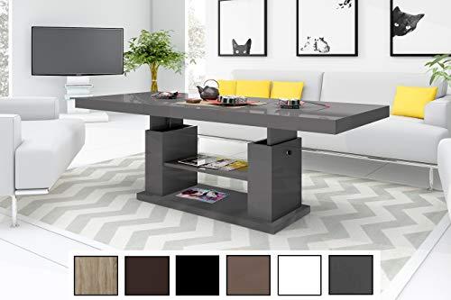HU Design Couchtisch Tisch HN-777 Hochglanz höhenverstellbar ausziehbar Esstisch (Grau/Anthrazit Hochglanz)