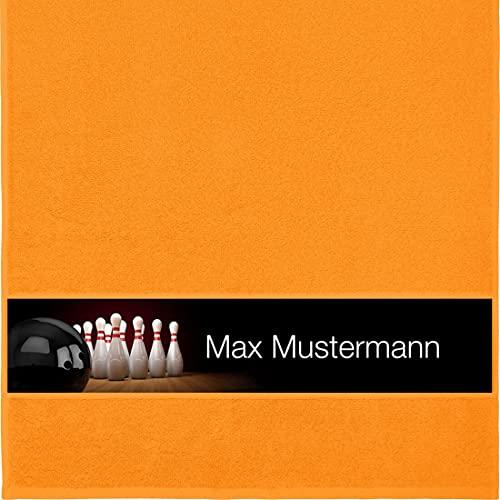 Manutextur Handtuch mit Namen - personalisiert - Motiv Bowling - viele Farben & Motive - Dusch-Handtuch - orange - Größe 50x100 cm - persönliches Geschenk mit Wunsch-Motiv und Wunsch-Name