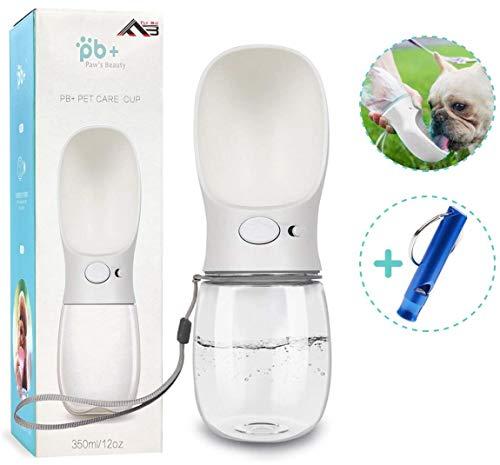 Flybiz Bärbar hund vattenflaska, mode hund resa vattenflaska antibakteriell mat betyg, läckagesäker husdjur vattenflaska dispenser för hund, katt, husdjur utomhus promenader, resor, dricka (350 ml, vit)