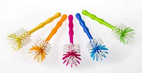 Wundermix Mixtopf-Spülbürste Thermomix, robuste Reinigungs-Bürste Thermomix, Spülbürste zum Aufhängen mit schonenden Nylon-Borsten (5er-Set, grün/pink/gelb/orange/blau)