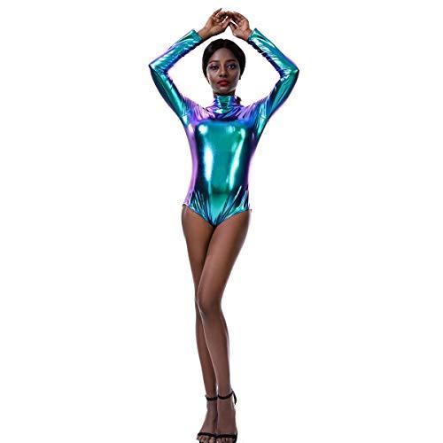 IMEKIS Damen Ballettanzug Langarm Body Catsuit Glänzend Metallic Laser Leder Bodysuit Ballett Tanz Leotard Gymnastik Trikot Turnanzug Top Nachtwäsche Clubwear Disco Dancewear Laserblau 2XL