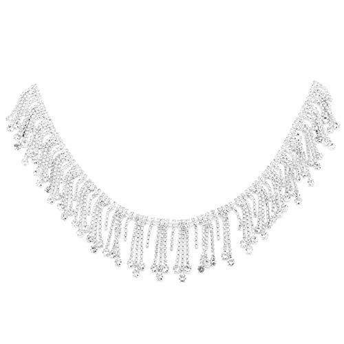 Borde de diamantes de imitación de borla de 1 yarda, cadena de diamantes de imitación de cristal, apliques de cristal con flecos, adornos de vestido de novia, coser en la ropa para adornos de novia de