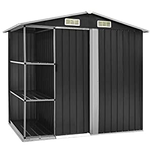 vidaXL 7x5 Metal Shed with Side Store Rack
