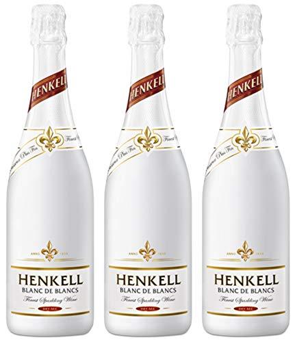 Henkell Blanc de Blancs Sekt, Trocken, 11,5% Alkohol (3 x 0,75 l Flaschen) – Cuvée aus weißen Rebsorten, darunter Chardonnay