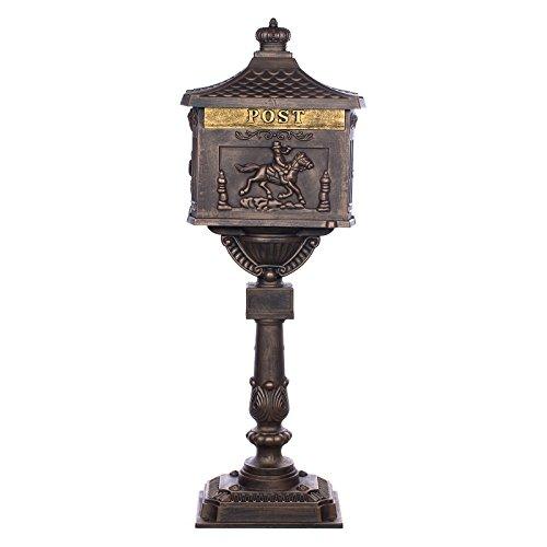 Sarah B Antiker großer und sehr Edler Briefkasten GLY 05 Bronze Standbriefkasten, Säulenbriefkasten, Englischer Briefkasten Alu - Guss 116 cm hoch Mit riesigem Postfach für mehr Volumen.