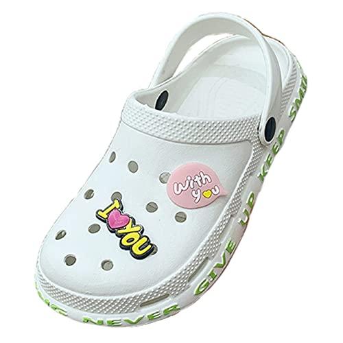 Zuecos de jardín para Mujer Mulas, Zapatos de baño Zapatos de Playa Playa Zapatillas Sandalias Mujer Hombre Bañarse Verano Interior Zapatillas -B/A / 37