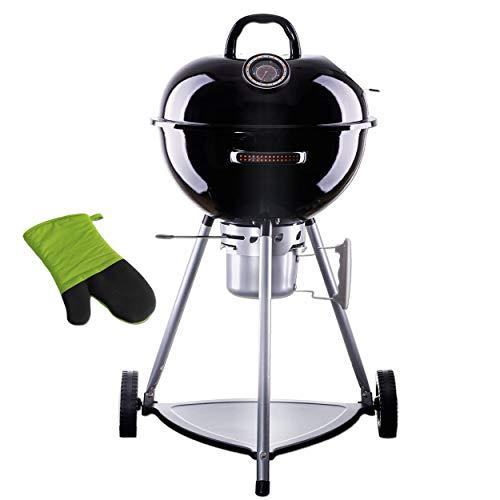 WUMDOO Style'n Cook Indiana Holzkohlegrill Kugelgrill Schwarz raucharm   500°C hitzebeständig   kompakter Grillwagen Holzkohlegrillwagen + 1 x Grillhandschuh Stay Cool   G414383