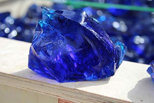 Steingrau Glasbrocken Glassplitt Dekoglas Gabionen Korngrößen 40-80mm Kobaltblau 20kg