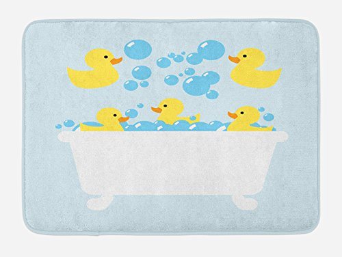 Lunarable Duckies Bath Mat, Yellow Rubber Poultry Toys Inside a Tub Abstract Cartoon Style Drawing with Bubbles, Plush Bathroom Decor Mat with Non Slip Backing, 29.5' X 17.5', Yellow Blue
