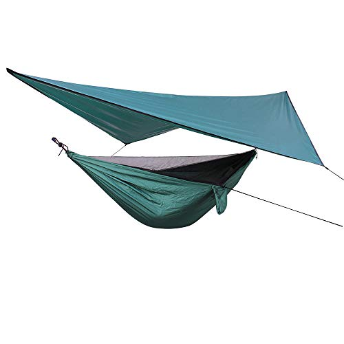 HUANXI PortableDoubleHanging Hammock Chair with Awning + Storage Bag + Strap,300kg Load Capacity (270x140cm) Dark Green Garden Swing Bed for Travel, Patio Furniture, Survival Gear