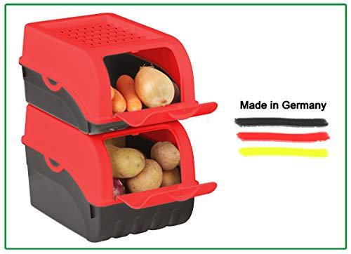 Novaliv Kartoffel Aufbewahrungsbox   mittel 5L   ROT   Kartoffelbox   Gemüsebox stapelbar Zwiebelbox Kartoffelkorb Obstbehälter Kartoffelkiste Zwiebel Aufbewahrung Frischhaltedose Möhren