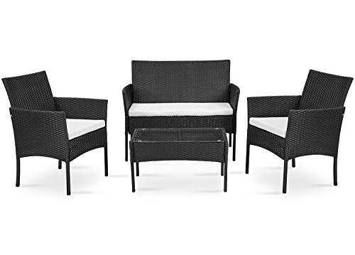 ThreeCat Gartenmöbel Poly Rattan Balkonmöbel Sitzgruppe Lounge Set(Lieferung innerhalb von 3-7 Tagen) - Mit 2-er Sofa, Singlestühle, Tisch und Anthrazit Sitzkissen - Schwarz