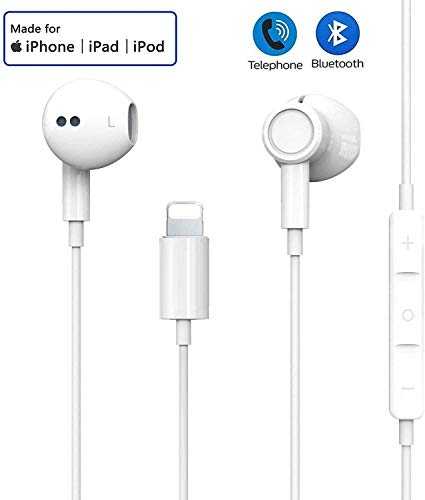 In-Ear Kopfhörer für iPhone 11 HiFi-Audio Stereo Kopfhörer Ohrhörer mit Mikrofon und Lautstärkeregler Stereo Bass Kompatibel mit iPhone11/11 Pro/X/8/8P/Xr/XS Max unterstützt alle iOS Systeme-Weiß