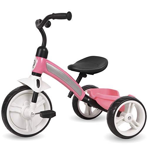 Q-Play Kinderdreirad ab 2 Jahre Kinder Dreirad Roller Rad Fahrrad Jungen Mädchen pink
