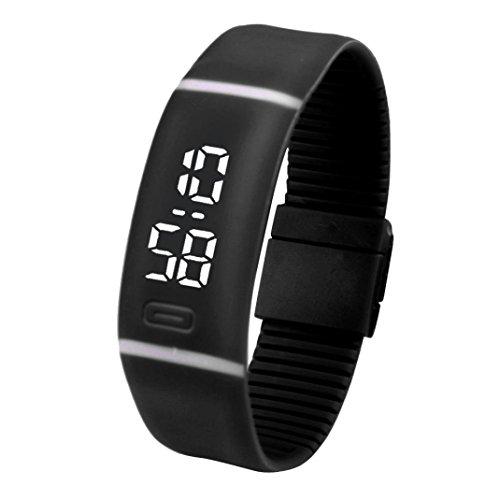 Amlaiworld LED Watch,Unisex in Gomma Orologio LED Data Sport Orologio Digitale da Polso (Nero)