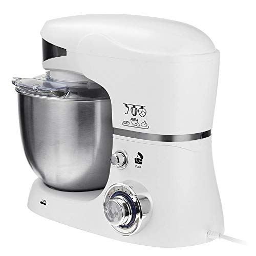 Electric Stand Mixers, Met 6 Versnellingen 5L RVS Mengkom 1000W Blenders & Food Processors Dough Hook & Balloon Klop, Brood Te Bakken Maker Kitchen Mixers,White