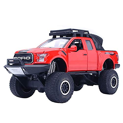 Kanzd 1:32 Ford F150 Raptor Pickup Diecast with Music Flashing Car Toy Gifts for Kids (Red)