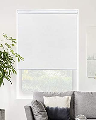 """Chicology Cordless Roller Shades Snap-N'-Glide, Blackout Window Treatments Perfect for Living Room/Bedroom/Nursery/Office and More.Byssus White (Room Darkening), 51""""W X 72""""H"""
