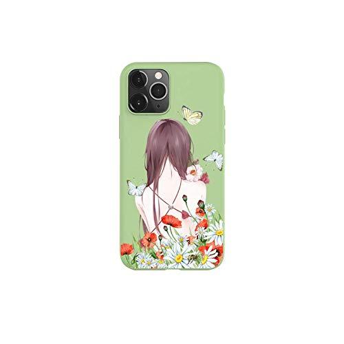 Carcasa de silicona para iPhone 11 Pro Max X XR XS 8 7 6s Plus color verde caramelo de la moda de viaje hermosa chica teléfono caso para iPhone X o XS