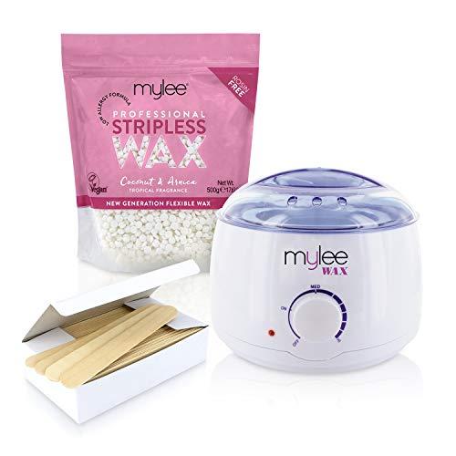 Mylee Professional Waxing Kit with Wax Heater, Hard Wax Beads 500g, Spatulas - Stripless Depilatory...
