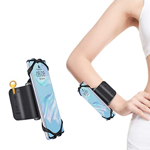 Wristband 360° Rotatable Running Phone Holder, Universal Sports Wristband for iPhone 12/12 PRO Max/11/11 Pro/XS/XR/8 Plus/8/7/6s All 4''-6.5'' Phone, Samsung and Android, for Cycling Hiking Climbing