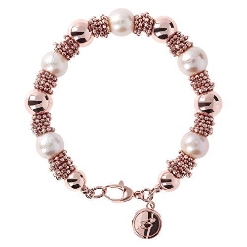 Bronzallure WSBZ01014PRL - Pulsera para mujer de oro rosado con perlas multicolor de bronce