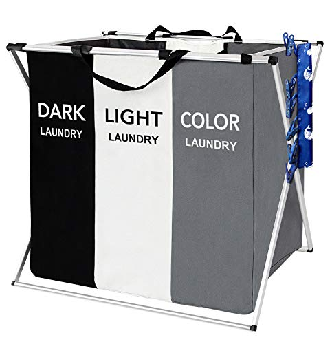 FUNFLOWERS Laundry Hamper Basket Sorter with Handle and Aluminum Frame, 3 Sections Foldable Portable Large Dirty Clothes Basket Organizer for Bathroom Bedroom Home (Black+White+Grey)