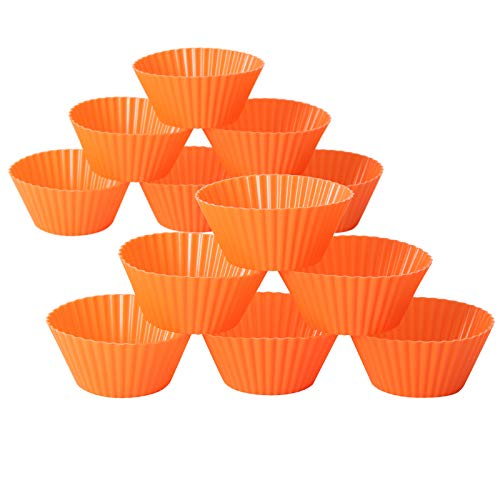 Reusable Silicone Baking Cupcakes, Non-stick Muffin Cup Linear Molds, BPA Free, Dishwasher Safe, Suitable for Cupcake Snack Dessert Chocolate Mold, Pack of 12 Standard Size 2.75 Inch Cupcake in Orange