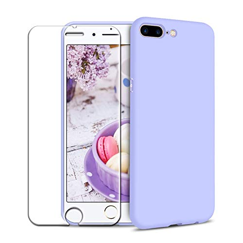 Funda iPhone 7 Plus/iPhone 8 Plus + Protector de Pantalla de Vidrio Templado, Carcasa Ultra Fino Suave Flexible Silicona Colores del Caramelo Protectora Caso Anti-rasguños Back Case - Morado Claro