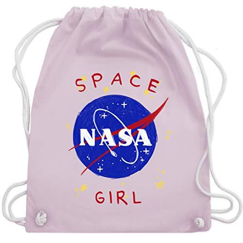Shirtracer Up to Date Kind - Space Girl - Unisize - Pastell Rosa - Geschenk - WM110 - Turnbeutel und Stoffbeutel aus Baumwolle