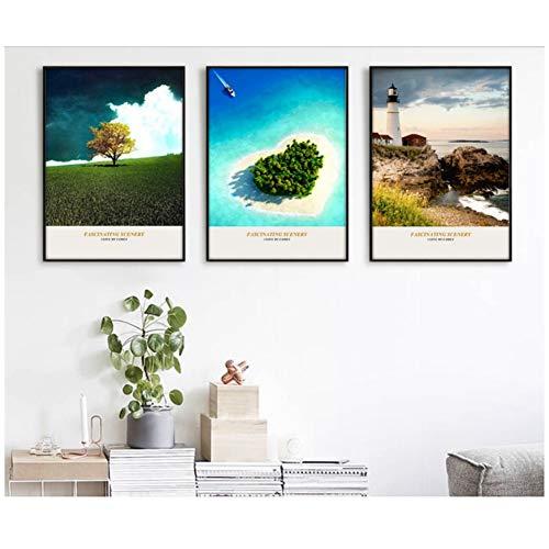 nr eiland vuurtoren landschap decoratief schilderij kunstdruk afbeelding canvas schilderij poster voor woonkamer-50x70 cm geen lijst