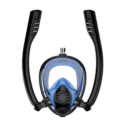CQ Schnorchel Maske Easy Breath Anti-Fog Anti-Leak 180°Ansicht Vollgesichtsmaske für Erwachsene oder Kinder,Black-Blue,L/XL