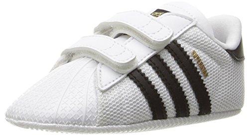 adidas Originals Baby Superstar Crib Running Shoe, Black/White, 1K M US Infant