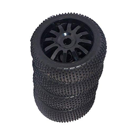 B Blesiya 4pcs Negro RC 1/8 Scale Buggy Rueda Llantas de Coche de Nylon de Goma Adecuado para HSP Kyosho HPI