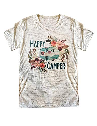 ZJP Women Short Sleeve V Neck Happy Camper Letter Print Shirt Floral Print Tops