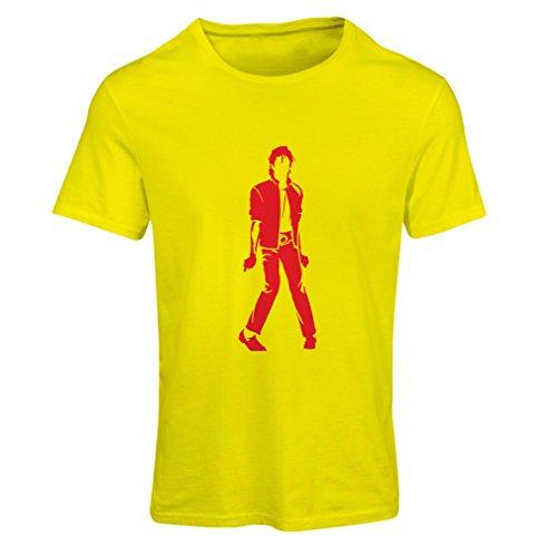 lepni.me Camiseta Mujer Me Encanta M J - Rey del Pop, 80s, 90s Músicamente Camisa, Ropa de Fiesta (Small Amarillo Rojo)