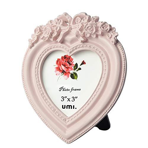UMI Kleiner Baby Bilderrahmen in Herzform für Bild 3x3 Rosa Tischplatten als Dekorahmen