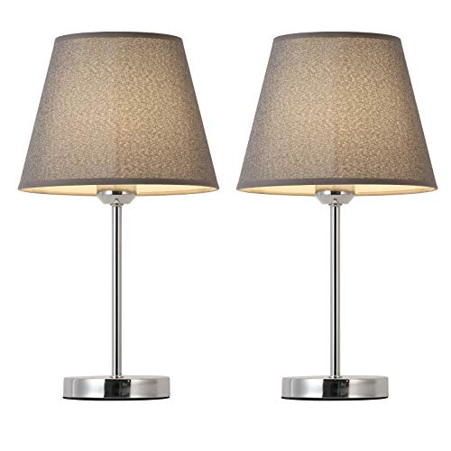 Table Lamps for Living Room, Modern Table Lamps for Bedroom, Grey Bedside Table Lamps Set of 2 with Silver Metal Base & E27 Blub Base Nightstand Lamps for Home, Bedroom Living Room Grey 2 Pack