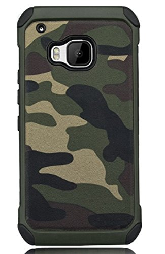 FDTCYDS HTC One M9 Hülle,HTC M9 Camo Hülle Defender Shockproof Drop Proof High Impact Rüstung Plastic & Leder TPU Hybrid Rugged Camouflage HandyHülle Schutz Cover Hülle für HTC One M9 - Grün