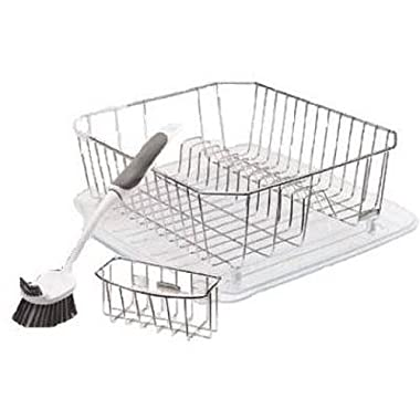 Rubbermaid 4-Piece Dish Rack Sinkware Set, Chrome