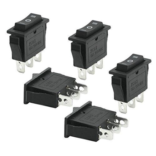 5 piezas de 3 pernos SPDT Negro On/Off/On Interruptor oscilante de CA 250V 15A