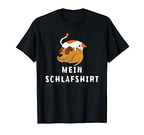Schlaf Outfit Hund Katze Lustig Nachthemd Pyjama Schlafanzug T-Shirt
