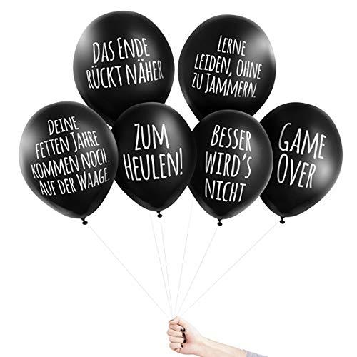 Pechkeks Anti-Party-Ballons, schwarze Luftballons mit schrägen Sprüchen, Bis zum bitteren Ende-Set, schwarz