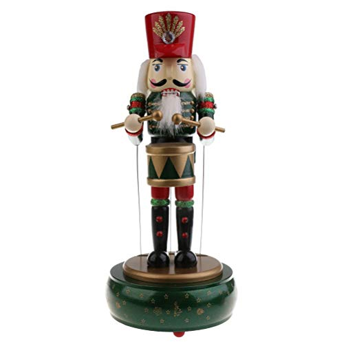 JiuRong Spieluhr, Hölzerne Nussknacker Spieluhr in Soldatenform, Vintage Spieluhr mit Trommeln, Handgefertigtes Nussknacker Schlagzeugermodell, Cartoon Spieluhr, Inneneinrichtung