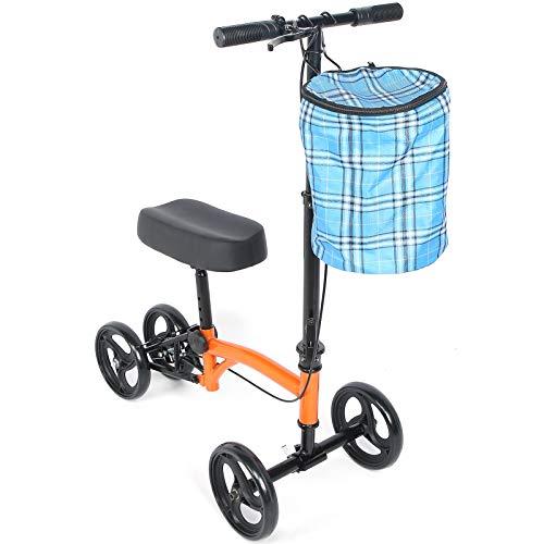 EBTOOLS Lenkbarer Knie-Scooter Knie Gehhilfe mit Bremsen und Korb Knie Walker Roller für Drinnen Oder Draußen, Tragfähigkeit 136KG, 102 x 36 x 74 cm